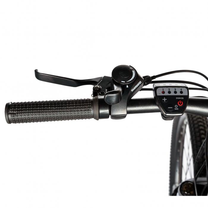 """Bicicleta electrica MTB (E-BIKE) CARPAT 27.5"""" C1011E, cadru aluminiu, frane mecanice disc, transmisie SHIMANO 21 viteze, culoare negru/alb [7]"""