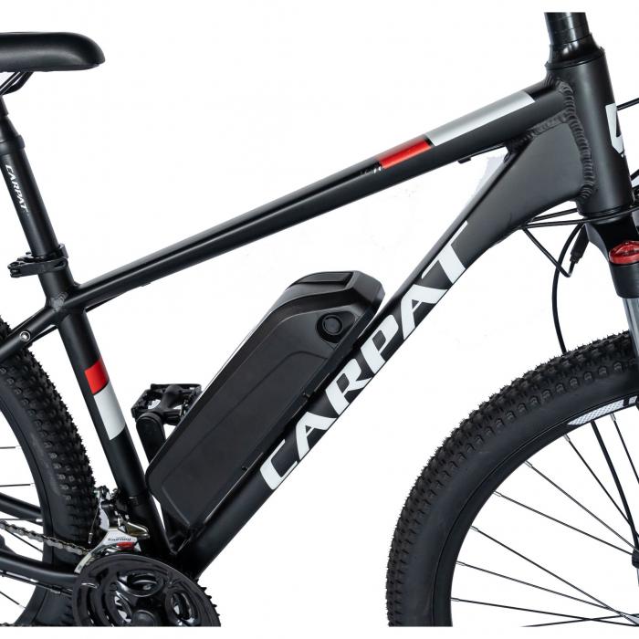 """Bicicleta electrica MTB (E-BIKE) CARPAT 27.5"""" C1011E, cadru aluminiu, frane mecanice disc, transmisie SHIMANO 21 viteze, culoare negru/alb [3]"""