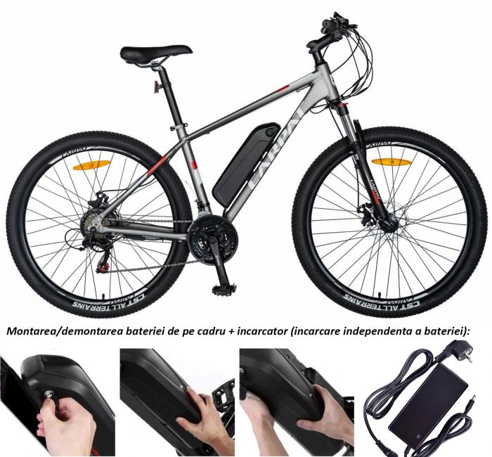 """Bicicleta electrica MTB (E-BIKE) Carpat 29"""" C1012E, cadru aluminiu, frane mecanice disc, transmisie SHIMANO 21 viteze, culoare gri/alb [1]"""