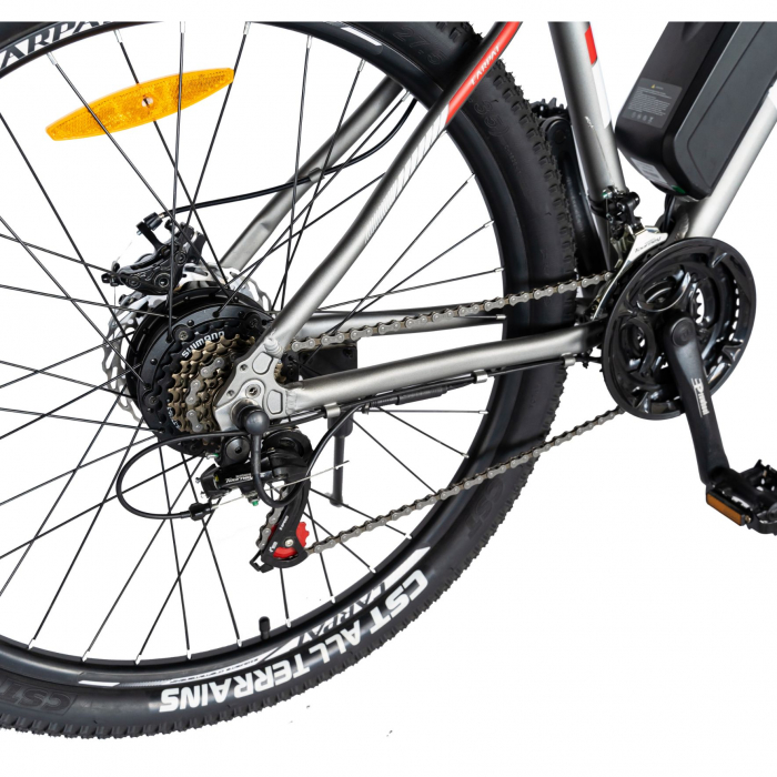 """Bicicleta electrica MTB (E-BIKE) Carpat 29"""" C1012E, cadru aluminiu, frane mecanice disc, transmisie SHIMANO 21 viteze, culoare gri/alb [2]"""