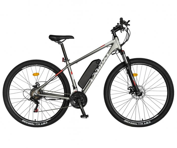 """Bicicleta electrica MTB (E-BIKE) Carpat 29"""" C1012E, cadru aluminiu, frane mecanice disc, transmisie SHIMANO 21 viteze, culoare gri/alb [0]"""