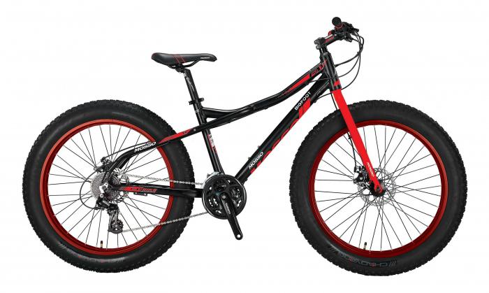 """Bicicleta FatBike Mosso BigFoot 2D  Roata 26"""" , 24 Viteze , Cadru 17"""" Culoare Negru/Rosu [0]"""