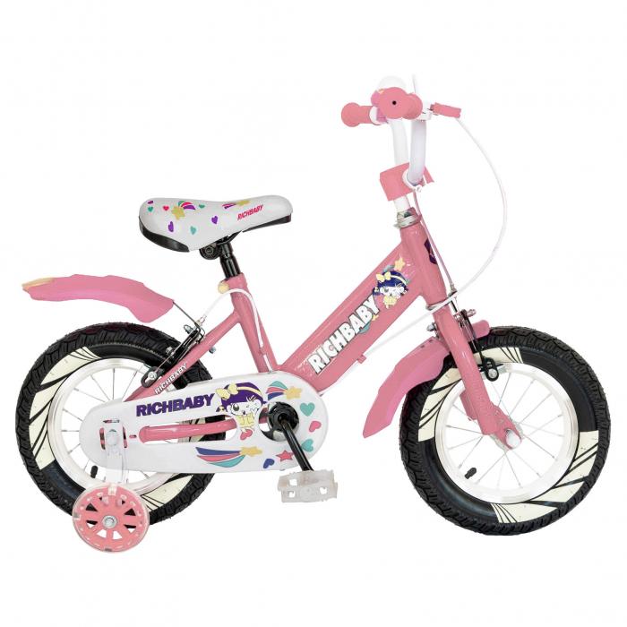 "Bicicleta fete Rich Baby R1808A, roata 18"", C-Brake otel, roti ajutatoare cu LED, 5-7 ani, roz/alb [0]"