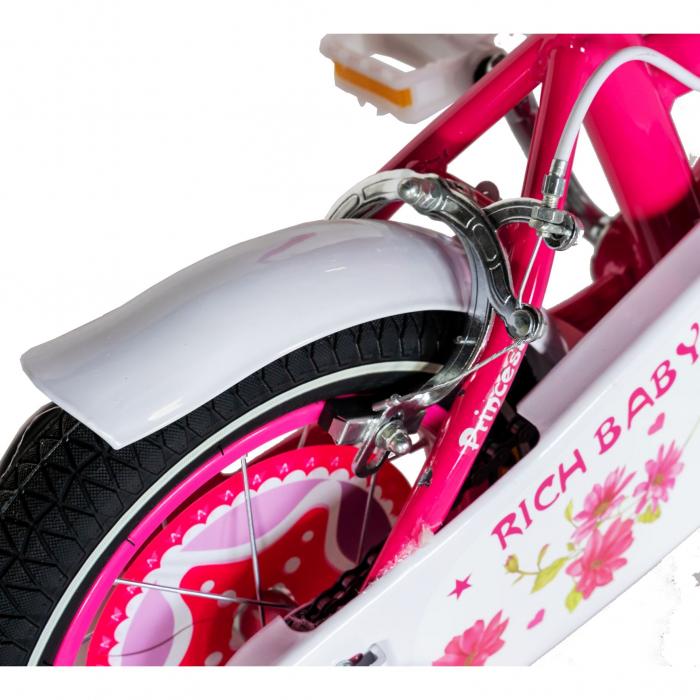 "Bicicleta fete Rich Baby T1201C, roata 12"", C-Brake, roti ajutatoare, 2-4 ani, fucsia/alb [1]"