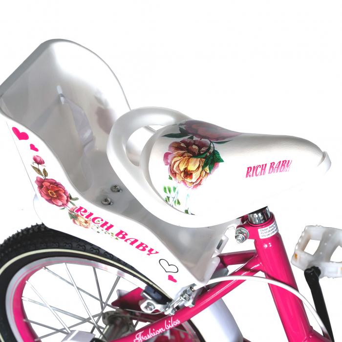 "Bicicleta fete Rich Baby T1205C, roata 12"", C-Brake,  roti ajutatoare, 2-4 ani, fucsia/alb [1]"