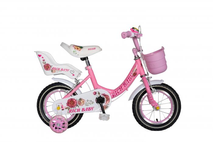 "Bicicleta fete Rich Baby T1205C, roata 12"", C-Brake,  roti ajutatoare, 2-4 ani, roz/alb [0]"