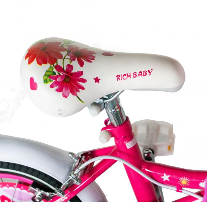 "Bicicleta fete Rich Baby T1601C, roata 16"", C-Brake, roti ajutatoare, 4-6 ani, fucsia/alb [1]"