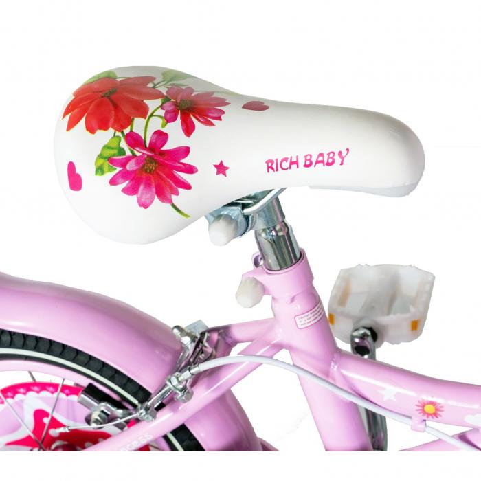 "Bicicleta fete Rich Baby T1601C, roata 16"", C-Brake, roti ajutatoare, 4-6 ani, roz/alb [1]"