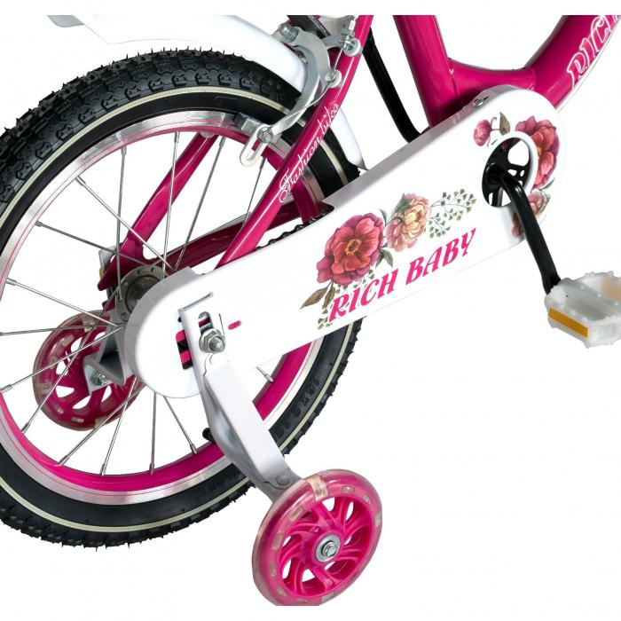 "Bicicleta fete Rich Baby T1605C, roata 16"", C-Brake,  roti ajutatoare, 4-6 ani, fucsia/alb [2]"
