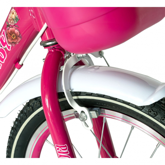 "Bicicleta fete Rich Baby T1605C, roata 16"", C-Brake,  roti ajutatoare, 4-6 ani, fucsia/alb [3]"