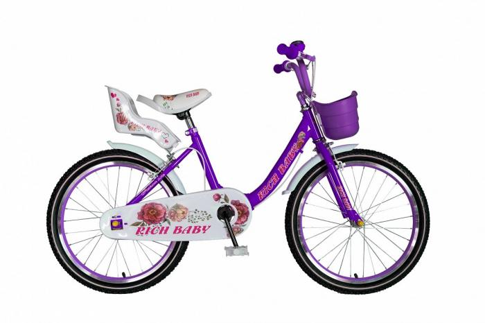 "Bicicleta fete Rich Baby T2005C, roata 20"", C-Brake, 7-10 ani, mov/alb [0]"