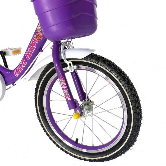 "Bicicleta fete Rich Baby T2005C, roata 20"", C-Brake, 7-10 ani, mov/alb [4]"