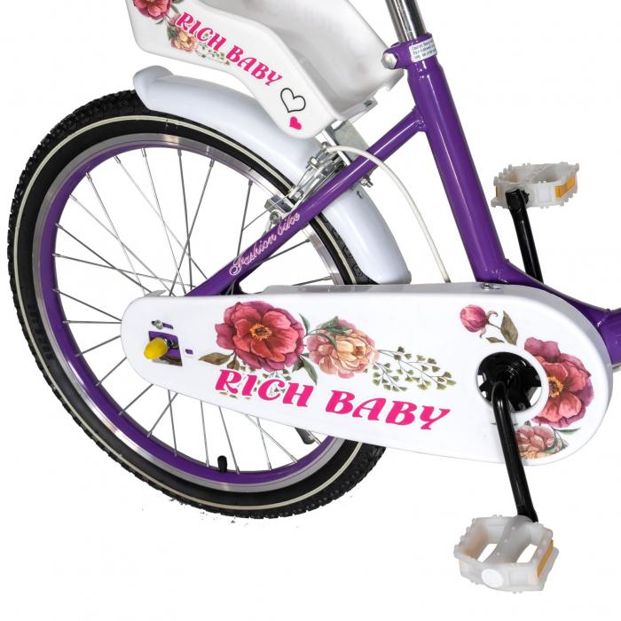 "Bicicleta fete Rich Baby T2005C, roata 20"", C-Brake, 7-10 ani, mov/alb [2]"