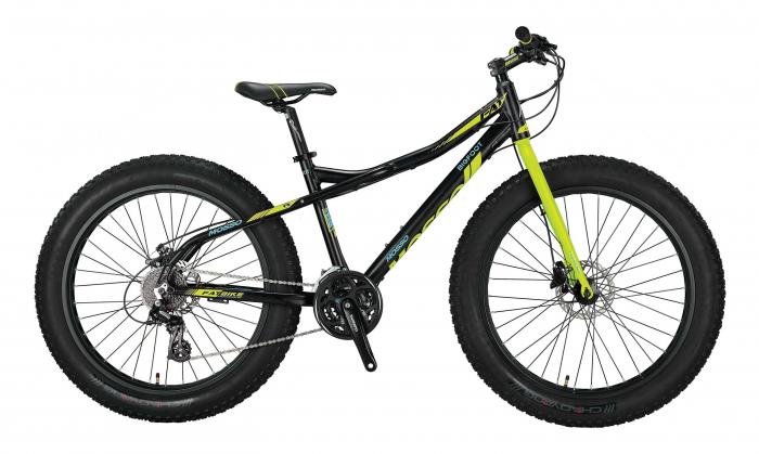 """Bicicleta Mosso BICICLETE>Biciclete fat bike 2D , roata 26"""" , Aluminiu, culoare Negru/Verde [0]"""
