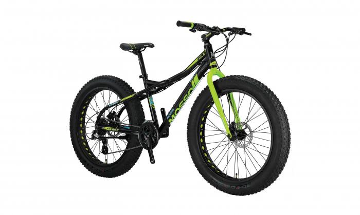 """Bicicleta Mosso FatBike Hidraulic, Roata 26"""", Cadru Aluminiu, Culoare Negru/Verde [0]"""