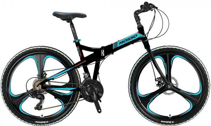"Bicicleta Mosso Marine ACR 2D pliabila , aluminiu , roata 26"", culoare Negru/Albastru [0]"