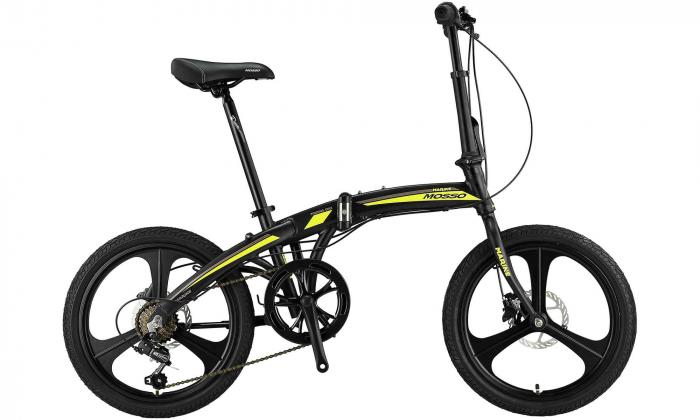 """Bicicleta Mosso Marine HYD - 7V-12 pliabila cadru aluminiu roata 20"""" culoare negru/verde [0]"""