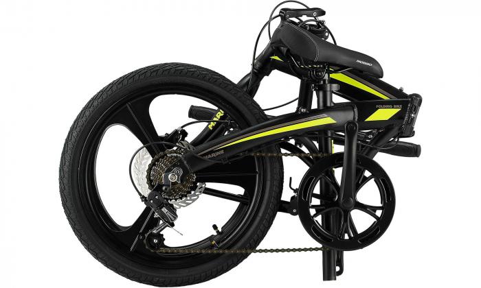 """Bicicleta Mosso Marine HYD - 7V-12 pliabila cadru aluminiu roata 20"""" culoare negru/verde [1]"""