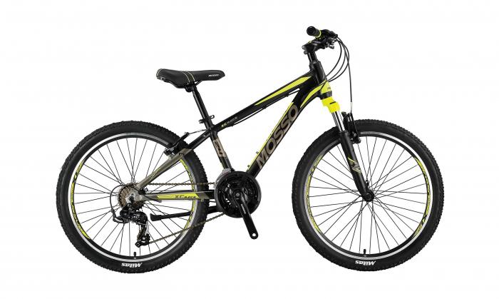 """Bicicleta Mosso Wildfire M-24-V-13 , Roata 24"""" , Aluminiu , Culoare negru/galben [0]"""