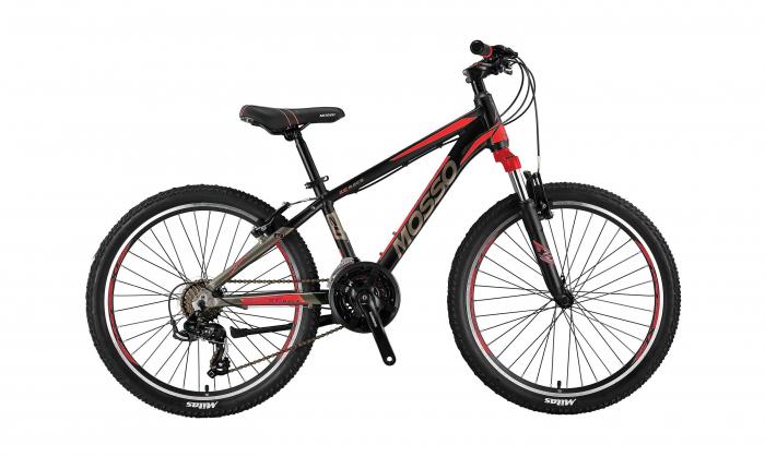 """Bicicleta Mosso Wildfire M-24-V-13 , Roata 24"""" , Aluminiu , Culoare negru/rosu [0]"""