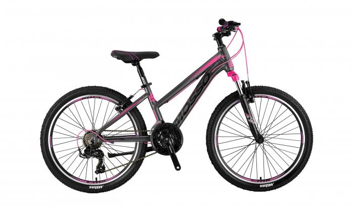 "Bicicleta Mosso Wildfire V Lady , Roata 24"" , Aluminiu , Culoare Gri/Roz [0]"