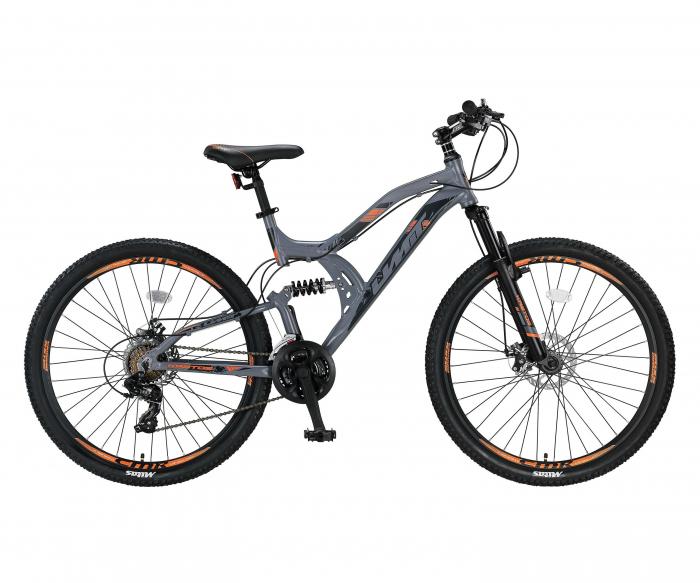 """Bicicleta MTB Full Suspensie UMIT Kratos 2D , culoare gri/portocaliu ,roata 26"""" , aluminiu [0]"""