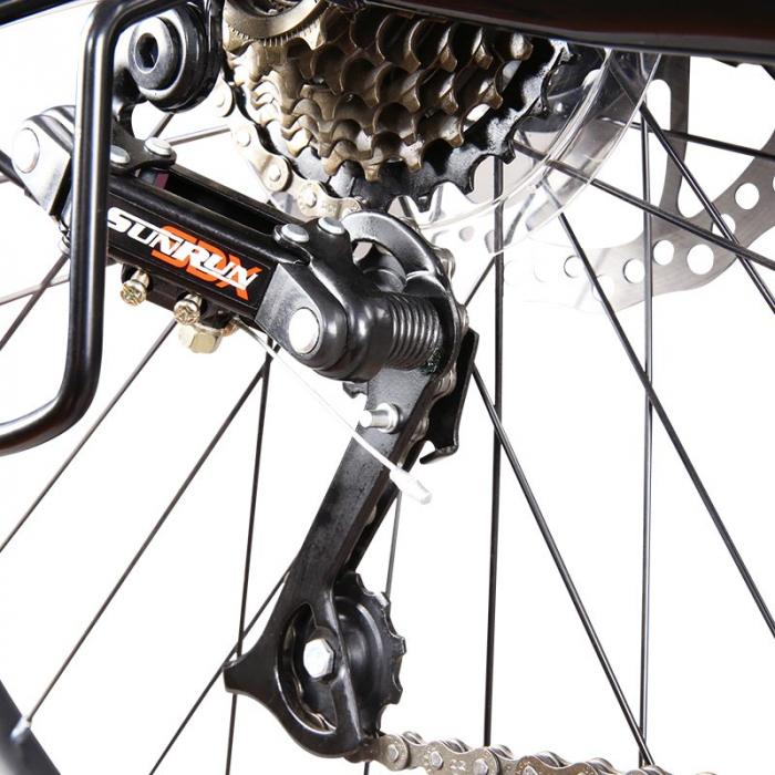 """Bicicleta MTB-HT Forever F24T1B, roata 24"""", cadru aluminiu, 27 viteze, culoare negru/rosu [4]"""
