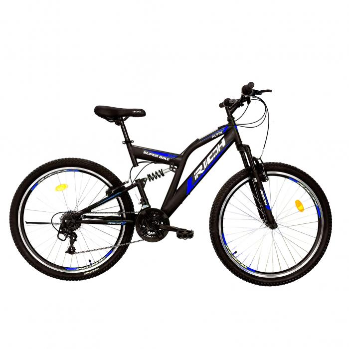 "Bicicleta munte, dubla suspensie, RICH R2649A, roata 26"", frana V-Brake, 18 viteze, negru / albastru [0]"