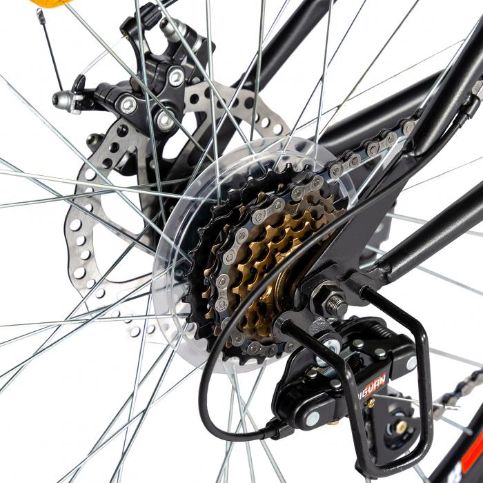 """Bicicleta munte, dubla suspensie, RICH R2750D, roata 27.5"""", frana disc, 18 viteze, negru/rosu [2]"""