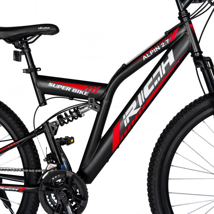 """Bicicleta munte, dubla suspensie, RICH R2750D, roata 27.5"""", frana disc, 18 viteze, negru/rosu [5]"""