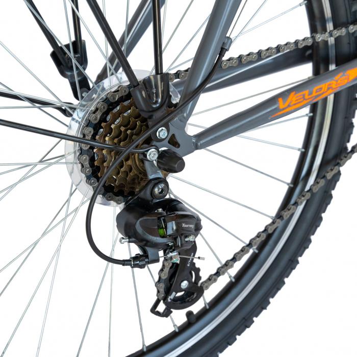 Bicicleta oras Velors V2633B, roata 26 inch, echipare Shimano, 18 viteze, culoare gri/portocaliu [3]