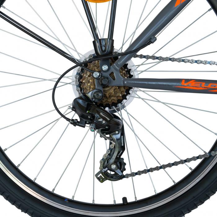 Bicicleta oras Velors V2633B, roata 26 inch, echipare Shimano, 18 viteze, culoare gri/portocaliu [2]
