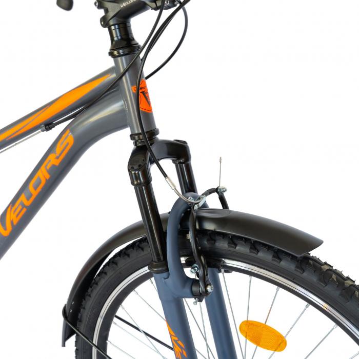 Bicicleta oras Velors V2633B, roata 26 inch, echipare Shimano, 18 viteze, culoare gri/portocaliu [6]