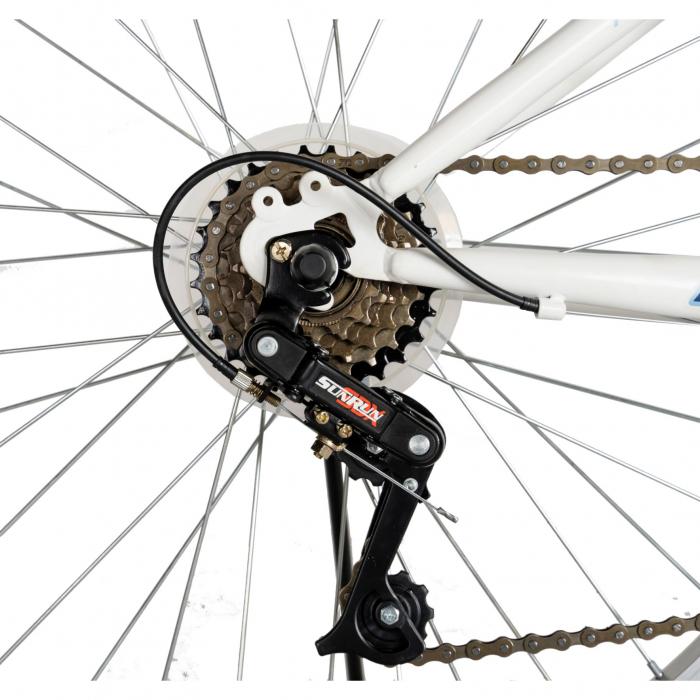 Bicicleta TREKKING 24 inch RICH R2430A, 6 viteze, culoare alb/albastru [3]