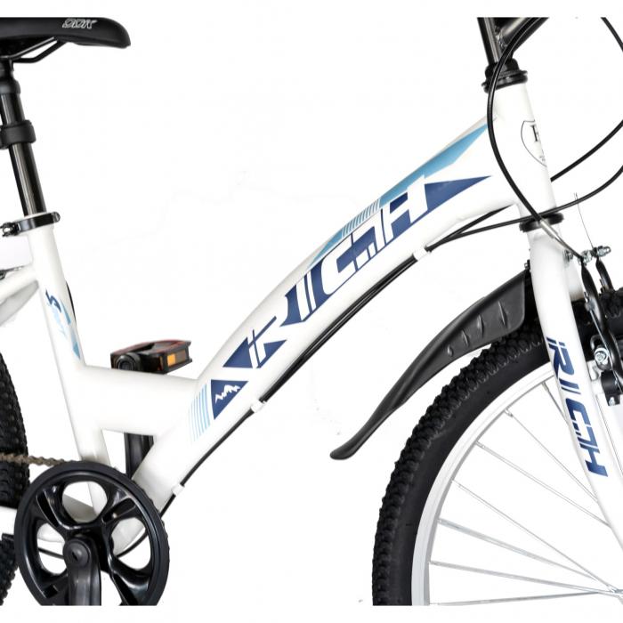 Bicicleta TREKKING 24 inch RICH R2430A, 6 viteze, culoare alb/albastru [4]