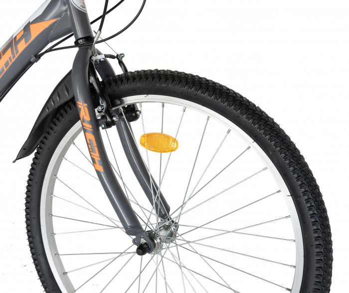 """Bicicleta TREKKING 24"""" RICH R2430A, 6 viteze, culoare gri/portocaliu [10]"""