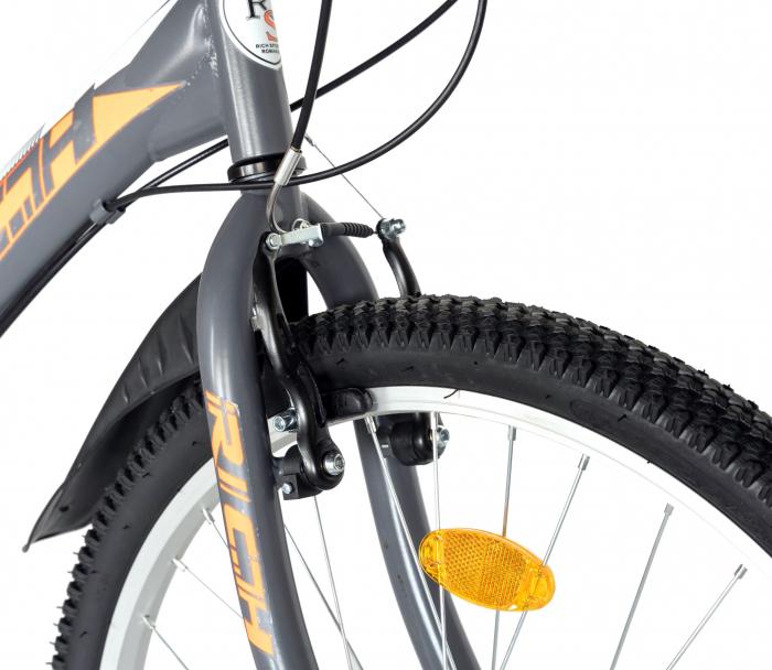 """Bicicleta TREKKING 24"""" RICH R2430A, 6 viteze, culoare gri/portocaliu [9]"""