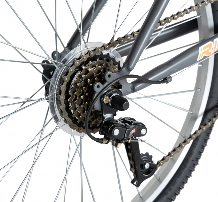 """Bicicleta TREKKING 24"""" RICH R2430A, 6 viteze, culoare gri/portocaliu [5]"""