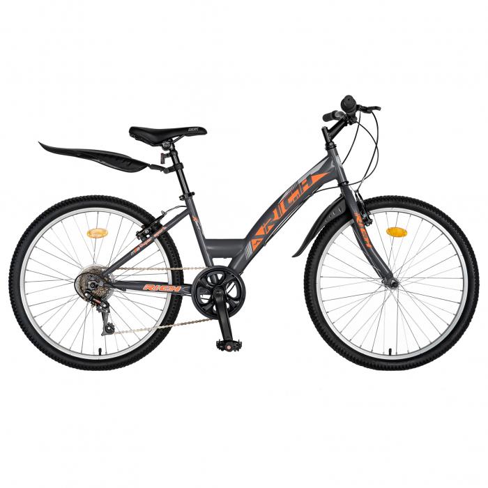 """Bicicleta TREKKING 24"""" RICH R2430A, 6 viteze, culoare gri/portocaliu [0]"""