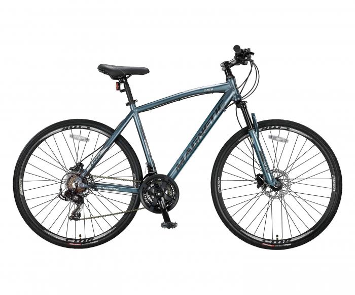 """Bicicleta Umit Magnetic Hidraulic, Roata 28"""", Aluminiu, Cadru 18"""" 460mm, Culoare Gri/Negru [0]"""