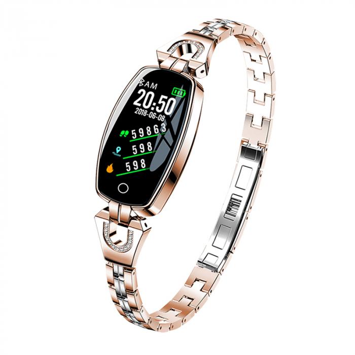 Bratara fitness fashion H8 cu functie de monitorizare tensiune arteriala si ritm cardiac, Notificari, Pedometru, Bluetooth, Metal, Roz-auriu [0]