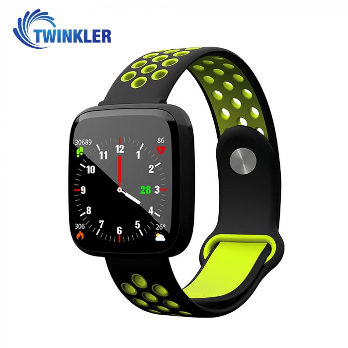 Bratara fitness inteligenta TKY-F15 cu functie de monitorizare ritm cardiac, Tensiune arteriala, Nivel oxigen, Monitorizare somn, Notificari Apel/ SMS, Incarcare magnetica, Negru-Verde [0]