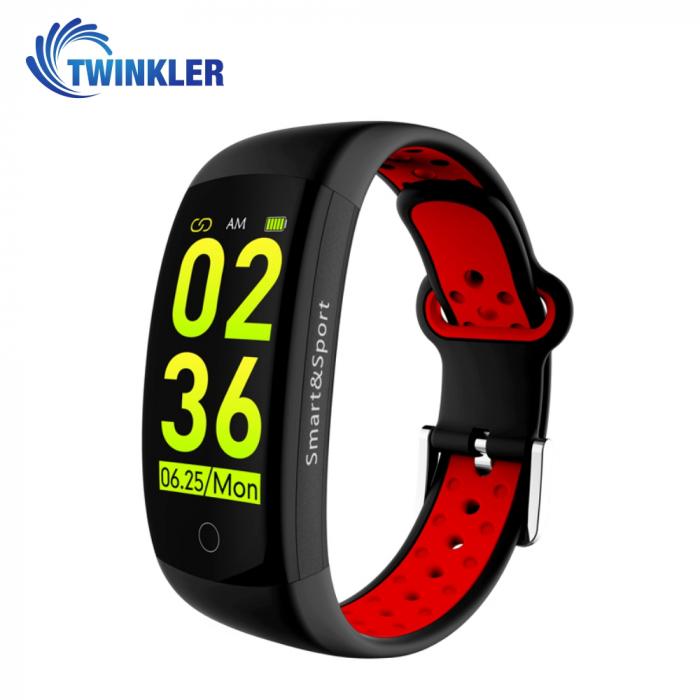 Bratara fitness inteligenta TKY-Q6S cu functie de monitorizare ritm cardiac, Tensiune arteriala, Monitorizare somn, Pedometru, Notificari, Negru ; Rosu [0]