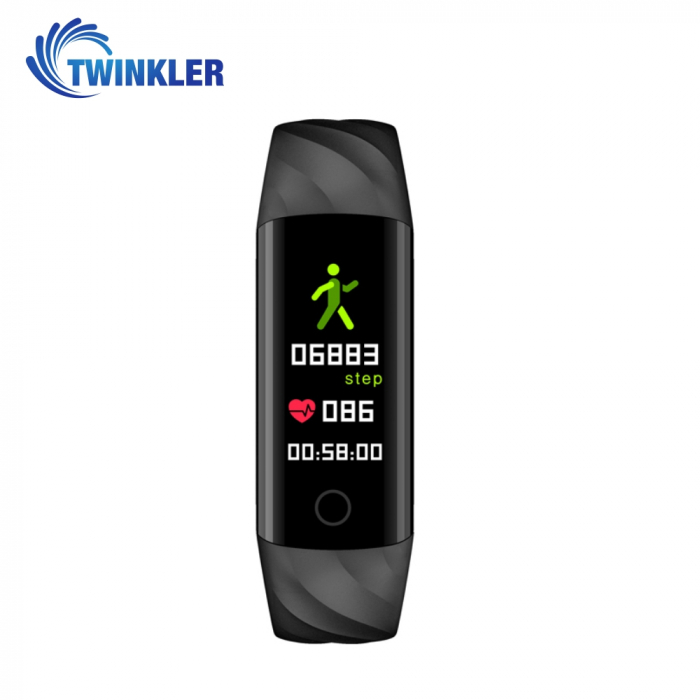 Bratara fitness inteligenta TKY-S5 cu functie de monitorizare ritm cardiac, Tensiune arteriala, Monitorizare somn, Pedometru, Notificari, Iluminare LED, Neagra [1]