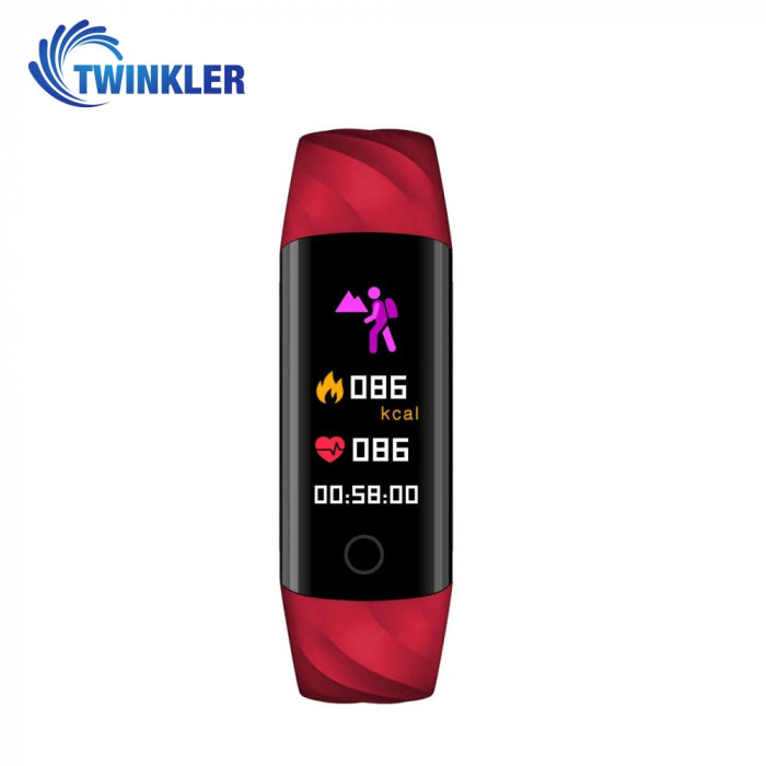 Bratara fitness inteligenta TKY-S5 cu functie de monitorizare ritm cardiac, Tensiune arteriala, Monitorizare somn, Pedometru, Notificari, Iluminare LED, Rosie [1]