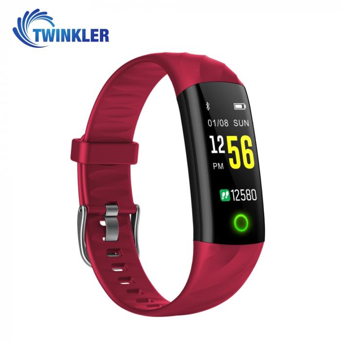 Bratara fitness inteligenta TKY-S5 cu functie de monitorizare ritm cardiac, Tensiune arteriala, Monitorizare somn, Pedometru, Notificari, Iluminare LED, Rosie [2]