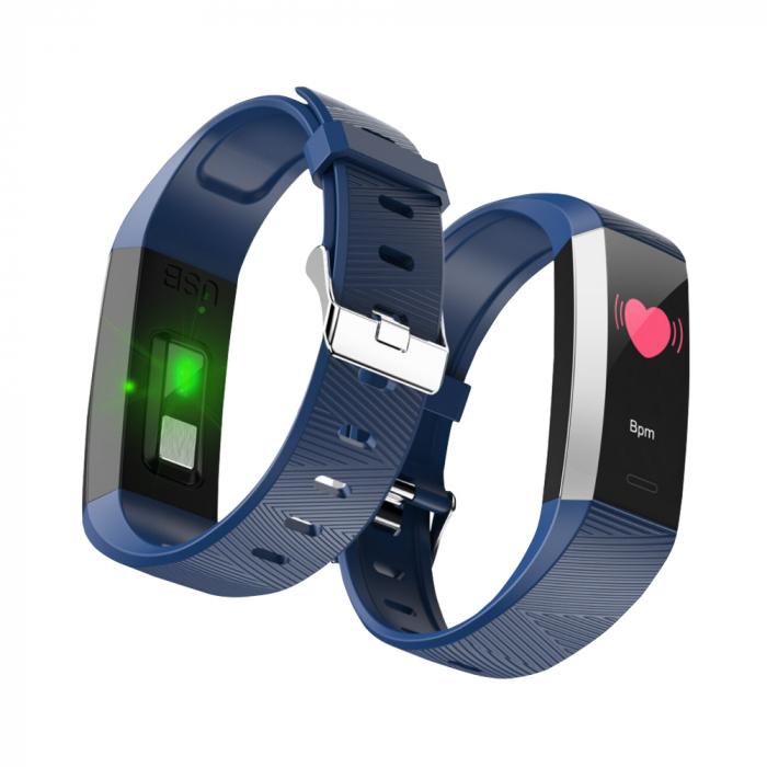 Bratara fitness TKY-S03, Albastru, Monitorizare ritm cardiac, Tensiune arteriala, Nivel Oxigen, Pedometru, Notificari [2]