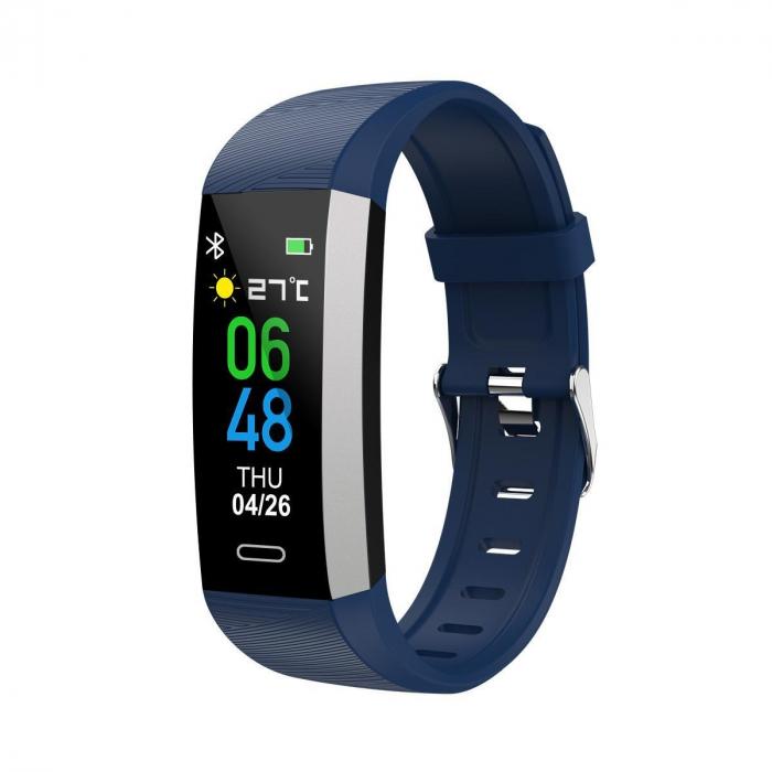 Bratara fitness TKY-S03, Albastru, Monitorizare ritm cardiac, Tensiune arteriala, Nivel Oxigen, Pedometru, Notificari [0]