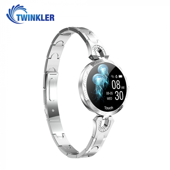 Ceas Smartwatch fashion Twinkler TKY-H5 cu functie de monitorizare ritm cardiac, Tensiune arteriala, Calitate somn, Notificari, Pedometru, Distanta parcursa, Incarcare magnetica, Argintiu [2]