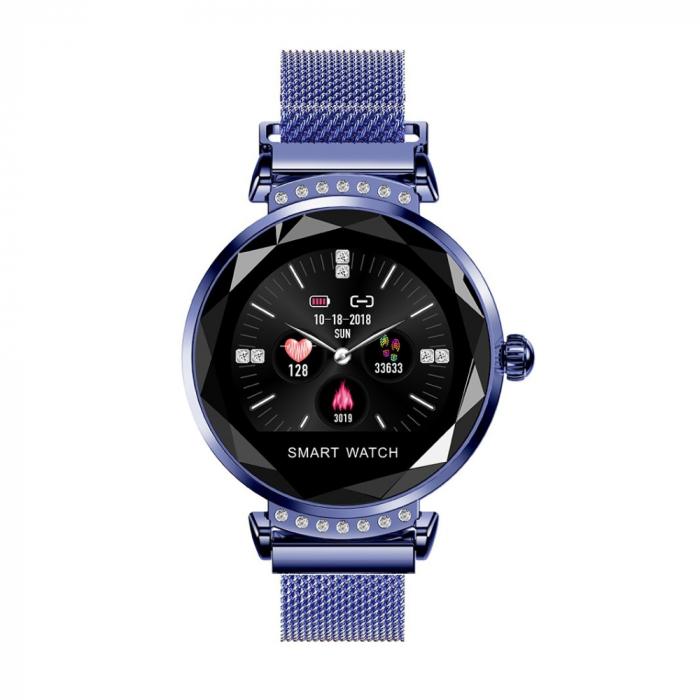 Ceas Smartwatch fitness fashion H2 cu functie de monitorizare ritm cardiac, Notificari, Pedometru, Bluetooth, Metal, Albastru [0]